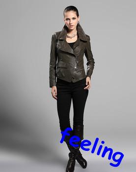 FREE SHIPPING 2012  model  women genuine  sheep leather coat leather khaki jacket locomotive coats