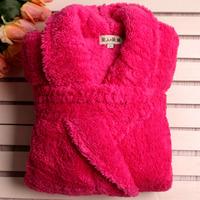 2012 winter double faced velvet plush thickening thermal coral fleece robe bathrobes women's lounge rose