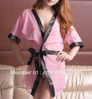 FREE shipping!! Wholesale and Retail pink Dress+Stockings+Garter+G Strings Sexy Lingerie   LG0009