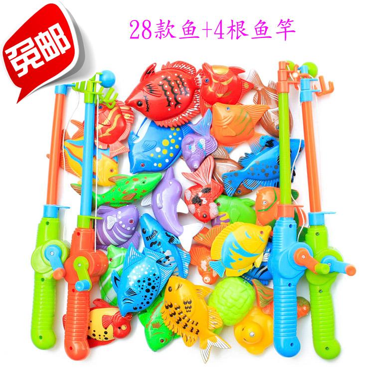 New Magnetic fishing toy combination big set 28 fish and 4 fish pole intelligence toys free shipping(China (Mainland))