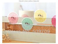 Korea Style Lace Sticker, PVC Seal Decoration Sticker, Transparent Circular Label, children school suppliers
