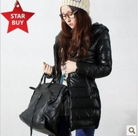 Free hot delivery 2012 new white lady's soft PU leather cultivate one's morality of upset warm down jacket  0005