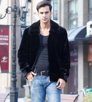 2013 men's clothing fur coat casual clothing male slim zipper leather clothing fashion leather jacket Free shipping