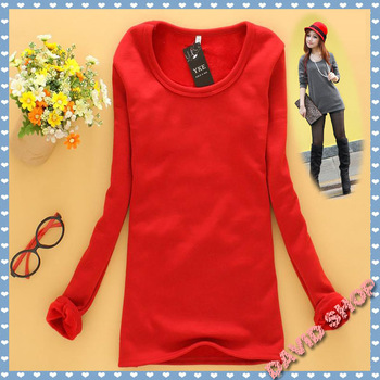 The new Korean version plus thick velvet velvet beaver does not fall velvet round neck women bottoming shirt