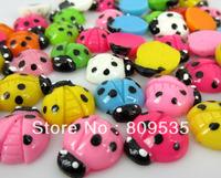 Free Shipping 100pcs Mixed Resin Ladybug Flatbacks Cabochon Scrapbook Craft