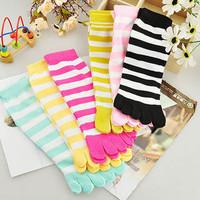 100% cotton socks multicolour stripe toe socks points toe socks breathable anti-odor