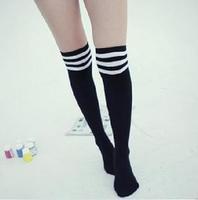 Super female preppy style knee-high socks patchwork socks