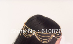 2012 Grecian Fashion Style Women Gold Metal Rhinestone Head Chain Jewelry Headband Head Piece(China (Mainland))