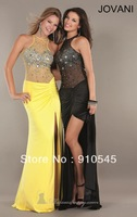 Gorgeous ! Long Sheath High Neckline Sleevelss Stunnning Designer Prom Dress 2013,Sexy Party  Dress feathures Beaded Bodice,Slit
