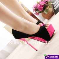 Wacth!!!/Free shipping /pumps for women/ sexy fashion open toe round toe thin heels platform high-heeled shoes /2 color