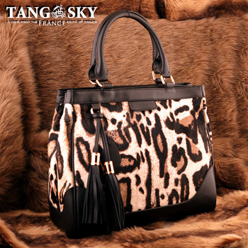 free shipping Cowhide horsehair black leopard print bucket bag tassel color block shoulder bag winter women's handbag.47