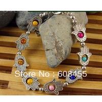 "10pcs Vintage fatima&hamsa Hand Bracelet,Free Ship Tibet Silver ""Lucky Hamsa"" Kabbalah Amulet Hamsa Charm Colorful Bracelet"