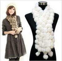 Holiday Sale women's scarf Rabbit Pompom Fur Scarf hotsale Free shipping