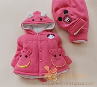 Children's clothing female child baby small MINNIE mouse thickening wadded jacket trousers set