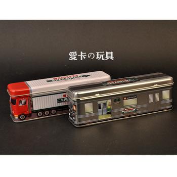 Child stationery tin pencil box storage small box subway style truck style