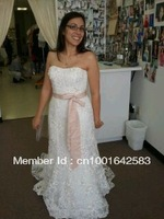 custom made 2012  Fitted Trumpet Gown with Subtle Pink Flowers Style CWG464 wedding  dress