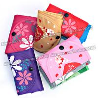 15pcs/lot  Fashion patterned folding fabric shopping bag,many colors mixed sales Eco-friendly durable foldable handle bag