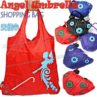 15pcs/lot Fashion Angel Umberalla folding fabric shopping bag,many colors mixed sales Eco-friendly durable foldable handle bag