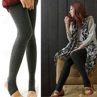 HOT Lady Knit Stripe Twist Step Foot Leggin Legging Warmer Winter Pants (Two types shipped in random)