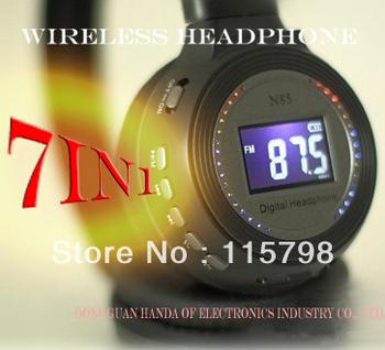 7 in 1 HIFI Wireless SD or MMC card headphone Earphone  Monitor FM radio for MP4 PC TV audio LED headphones,free shipping