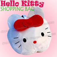 15pcs/lot  Fashion cartoon Hello Kitty Cat animal folding fabric shopping bag,white color Eco-friendly durable foldable handbag