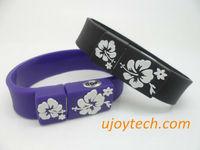 Wristband USB Flash Drive embossed flower Real 2GB 4GB 8GB 16GB 32GB Bracelet OEM rubber USB stick pen drive Christmas Gift free