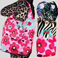 5pcs/lot Fashion Handle pouch+fashion folding fabric shopping bag,many colors mixed sale Eco-friendly durable foldable hand bag