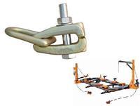 pulling tools of frame machine to repair car body