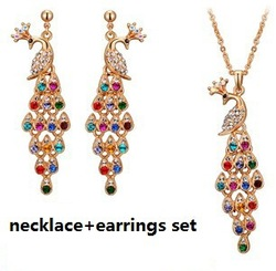 Christmas sale Luxury Vintage Peacock crystal jewelry sets 18k gold plated fashion bridal wedding jewelry sets 1019(China (Mainland))