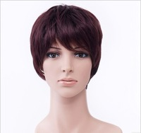 wig /short hair/ quinquagenarian women's&men's wowed curly hair oblique bangs wigs