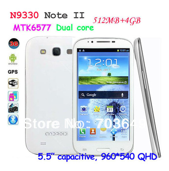"N9330 Note II 3G Smart Phone MTK6577 1.2GHz Dual Core Android 4.1.1 5.5"" QHD Capacitive Screen GPS WIFI 512MB/4GB"