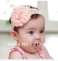 10pcs/lot baby Headbands hairband headwear big pink rose flowers elastic white chiffon headband ,Kids Hair Ornaments(China (Mainland))