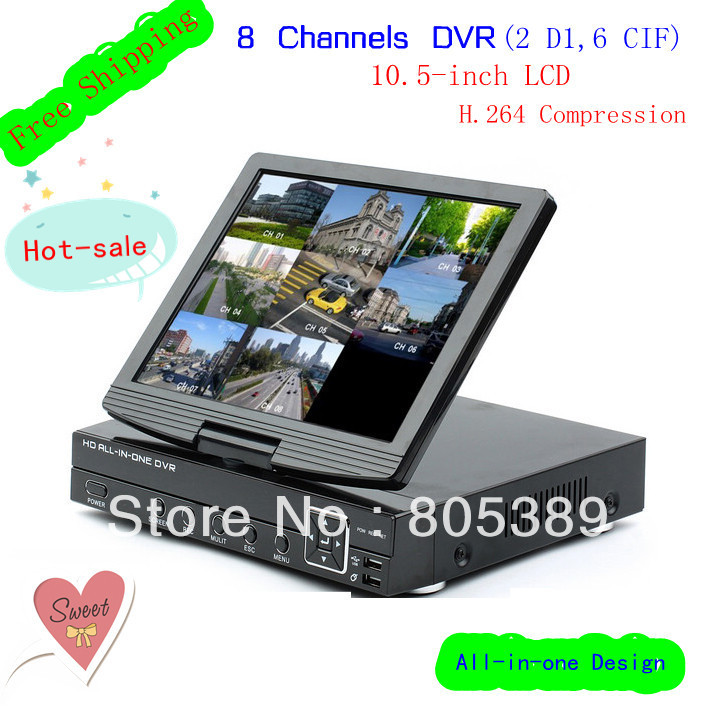 Free Shipping by DHL 8CH All in one DVR with 10.5-inch LCD and H.264 Compression,Support Ardroid,iPhone,DVR-8818HM(China (Mainland))