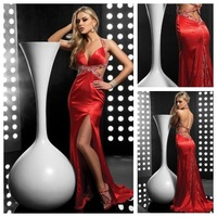 Custom Made Top Quality Court Train Criss-Cross Deep v-Neck Silk Like Satin Beading Thigh-high Slit Sleeveless Long Prom Dress