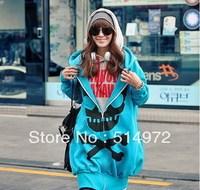 Best Selling!!Women Long skull zipper hooded thick sweatshirt autumn outwear+ free shipping