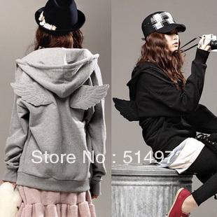 Best Selling!!Women's Hoodie Angel wings casual cardigan ladies jacket + free shipping(China (Mainland))