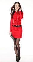 Best Selling!!women's fashion Dress with belt women clothing long sleeve dress+ free shipping