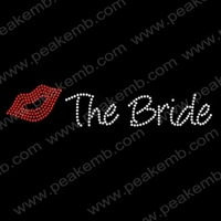 Free DHL Shipping 30pcs/Lot Bling Iron On Letters Bride Red Lips Rhinestone Transfers For Wedding Dress  Fast Turnaround