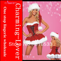 2012 Hot sell Fancy corset style santa lingerie costume adult strapless Christmas costume with santa hat and petticoat skirt