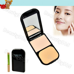Hot & Free Shipping Women's Clear Invisible Pressed Powder Foundation Makeup Compact Cake Powder with Concealer Pencil 6539(China (Mainland))
