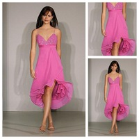 Custom Made Top Quality Beading Asymmetrical Informal & Casual Sleeveless Spaghetti Straps Chiffon Prom Dress