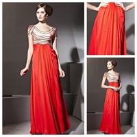 Side-Draped Romantic Scoop Portrait Chic & Modern Short Sleeve Informal Beaded Chiffon Modest Evening Dress
