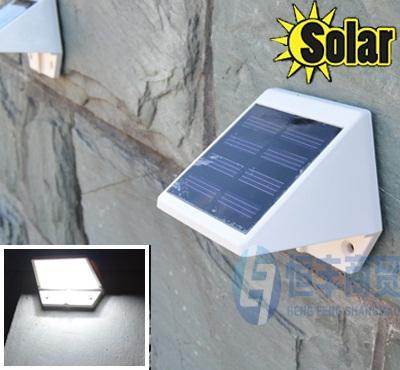 New solar power 4 led allée de jardin clôture escalier lumière mur solaire lampe de mur, 2pcs/lot