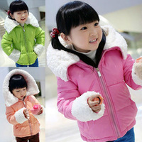Free shipping Winter new children's wear girl's upset the lambs wool candy color girl cotton-padded clothes coat