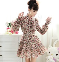 Lady Clothes New Aricot Flower Bowknot Steamer Long Sleeve Ciffon Woman Dress FH-036 Free Shipping