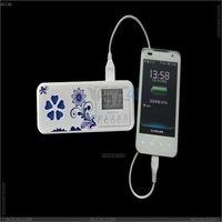 Blue and white porcelain pattern USB mini speaker with digital screen, FM and alarm clock , P-SPEAKERBT009