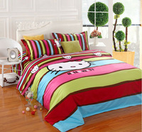 Hello kitty Queen size 100% cotton bedding set flat sheet for child. doona duvet covers bed linen1156