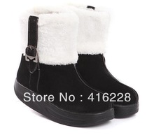 Free shipping 2012 Korean version muffin thick bottom and wedges fashion short flat boots snow boots / cotton shoes AS765(China (Mainland))