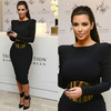 Free shipping Celebrity Dresses Special occasion dress Kim Kardashian Sheath Long sleeve Gold sash Black Knee-length Custome