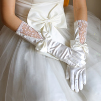 New Arrival Finger Bow Lace Wedding Gloves 36cm Opera Bridal Gloves Wedding Accessory Ivory Gorgeous Satin Free Shipping